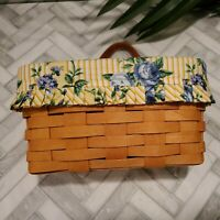Longaberger Hanging Leather Strap Basket 9x5 Small Yellow Liner Floral USA 1997