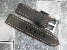 24mm SOFT COW LEATHER STRAP Black Watch Band Copper Stitch PANERAI 24