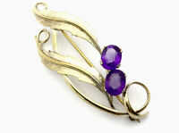 Vintage Gold On Sterling Silver Amethyst Gem Stone Brooch -GIFT BOXED