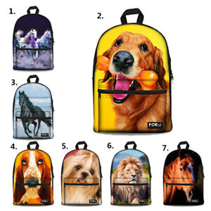 Horse Dog Lion Canvas Backpack Girls Boys School Laptop Rucksack College Satchel
