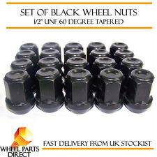 """Alloy Wheel Nuts Black (20) 1/2"""" UNF Tapered for Ford Bronco 1974-1996"""