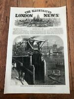 1866 illustrated london news print ! thames embankment - cutting the piles