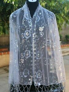 Sequin Glitter Beaded Shawl Scarf Wrap Veil Formal Evening Party Prom Wedding