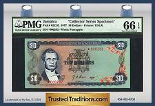 """TT PK 62CS2 1977 JAMAICA 10 DOLLARS """"COLLECTORS SERIES SPECIMEN"""" PMG 66 EPQ"""