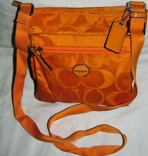 Coach Getaway Orange Signature Medium Crossbody Nylon Shoulder Bag Tote Purse