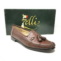 Men's Zelli Loafers Dress Shoes Size 9.5 Brown Full Genuine Ostrich Quill T13