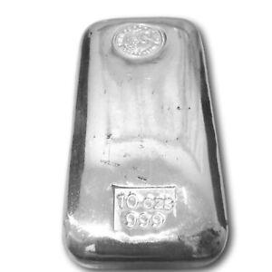 Perth Mint 10 oz  Silver Bullion Cast Bar 99.9% Purity 311 grams