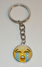 Crying Tears Emoticon Smiley Silver tone metal Keychain Purse Book bag Charm
