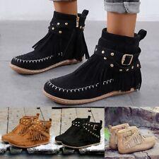 Retro Women Tassel Suede Flat Zipper Solid Short Booties Round Toe Boots Shoes