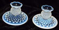 2 FENTON U.S.A. FRENCH BLUE OPALESCENT HOBNAIL GLASS CANDLESTICKS