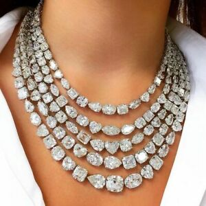 Mix Shape Stone Layer Tennis High Party Necklace 925 Sterling Silver