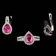 GLORIOUS PEAR CUT 8x6mm AAA RICH PINK TOPAZ-WHITE CZ STERLING 925 SILVER SET