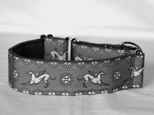 "2"" Martingale Dog Collar Greyhound Angels -  White and Gray"