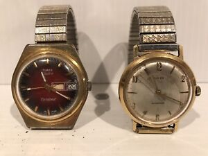 VINTAGE TIMEX DYNABEAT ELECTRIC MENS RED DIAL WATCH + 1 TIMEX WATCH NOT RUNNING