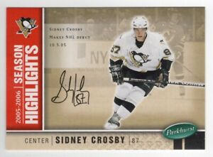 2005-06 Parkhurst Print Autograph Parallel HL #587 Sidney Crosby 074/100