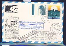 """52963) LH FF Frankfurt - Aruba 25.11.92, cancelled, Karte Taufe """"BOCHOLT"""""""