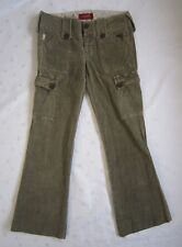 Hollister Women's Cargo Corduroy Low Rise Pants - Olive Green -Size 0 / W30 -EUC