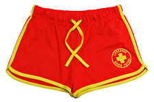 LADIES LIFEGUARD DRAW STRING RED & YELLOW SHORTS - FANCY DRESS LIFE GUARD NEW