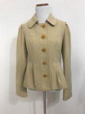 Tabitha Jacked Flecked Peplum Mustard Enamel Buttons Blazer Wool Blend 6