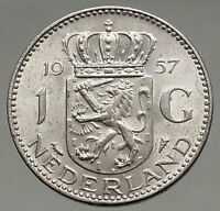 1957 Netherlands Kingdom Queen JULIANA 1 Gulden Authentic Silver Coin i56620