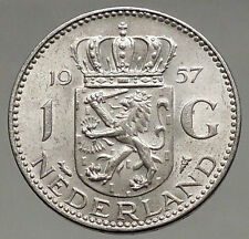 1957 Netherlands Kingdom Queen JULIANA 1 Gulden Authentic Silver Coin i56620