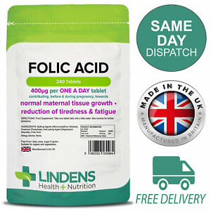Folic Acid 400mcg 240 Tablets Lindens