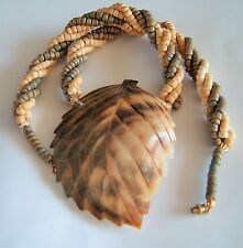 Vtg Carved Leaf Shell with twisted wood bead strands Funky statement necklace