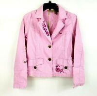 Ruff Hewn Womens Size M Denim Jacket Pink Flower Floral Jean Large Button