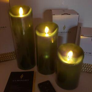 "Luminara Hunter Green Color 5-7-9 "" Flicker Flameless 3 Candles + 1 Remote"