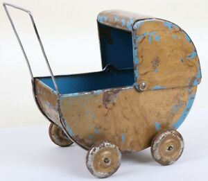 Antiker Kinderwagen Puppenwagen Blech um 1920