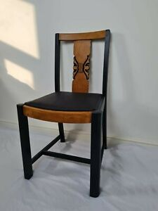 Black and wood upcycled dining chairs. 4 available. restored, chalk painted...