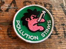 Vintage Hippie Ecology Patch Pollution Stinks - Protest Hiking Skiing Hippy 70's