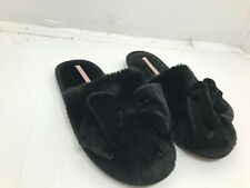 NEW Victoria's Secret Women's Black Faux Fur Bow Slip On Slippers Sz L (40/41)