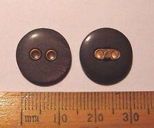 100 Buttons 15mm Charcoal Grey plastic Gold colour detail 2 holes British Joblot