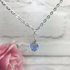 """Silver Sapphire BLUE Glass NECKLACE 16""""-18"""" CHAIN Czech Victorian VINTAGE Gift"""