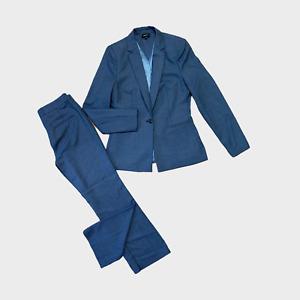 NEXT Ladies Womens Trouser Suit Jacket Size 10 EU 38 Trouser Size 8 Blue 2 piece