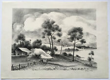"Adolf Dehn Signed Lithograph ""A Barn in Upstate New York"" ca. 1939"