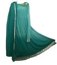 INDIAN PAKISTANI ANARKALI KAMEEZ BOLLYWOOD PARTY DRESS SHAWL SILK AQUA Size UK 8