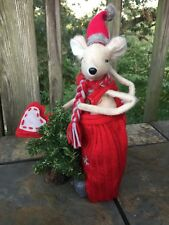 Vintage PRIMITIVE Christmas Mouse & Tree Red Pajamas Heart Tale DOLL 12/8 ❤️J8