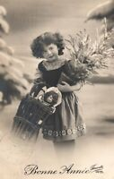 Vtg Girl with Doll Bonne Annee Happy New Year 1912 France RPPC Fauvette Postcard