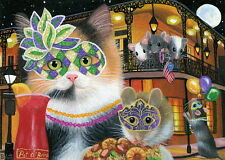 Calico cat mouse jambalaya Mardi Gras New Orleans OE aceo print of painting art