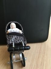 Dolls House Doll 1/12th Scale Porcelain Handmade  Baby And Hand Made Pram B