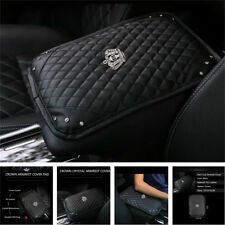 PU Leather Car Accessories Bling Rhinestone Console Armrest Cover Pad Protector