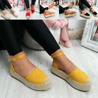WOMENS LADIES ANKLE STRAP FLATFORM BALLERINAS ESPADRILLE SUMMER PARTY SHOES SIZE