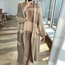 Women Casual Pockets Cardigan Autumn Winter Long Knitted Striped Sweater Jumper