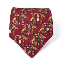 SALVATORE FERRAGAMO Tie Red Tiger Circus Print Designer Italian Necktie ITALY