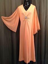 Vtg 60s 70s Chiffon Sheer Peach Rhinestone Hostess Goddess Maxi Floaty Dress 16