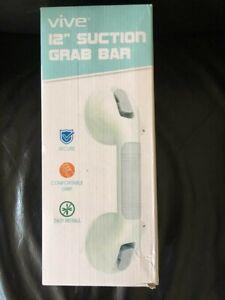 "New! Set of 2 Vive 12"" Grab Bar Suction Shower Handle & Bathroom Grip Safety"
