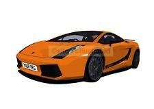 LAMBORGHINI GALLARDO CAR ART PRINT (A3). CHOOSE YOUR COLOUR, ADD YOUR REG PLATE