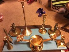 """Brass Unity Candle Holder 2 tapers + pillar 12"""" wide +bell + 6 holders Weddings"""